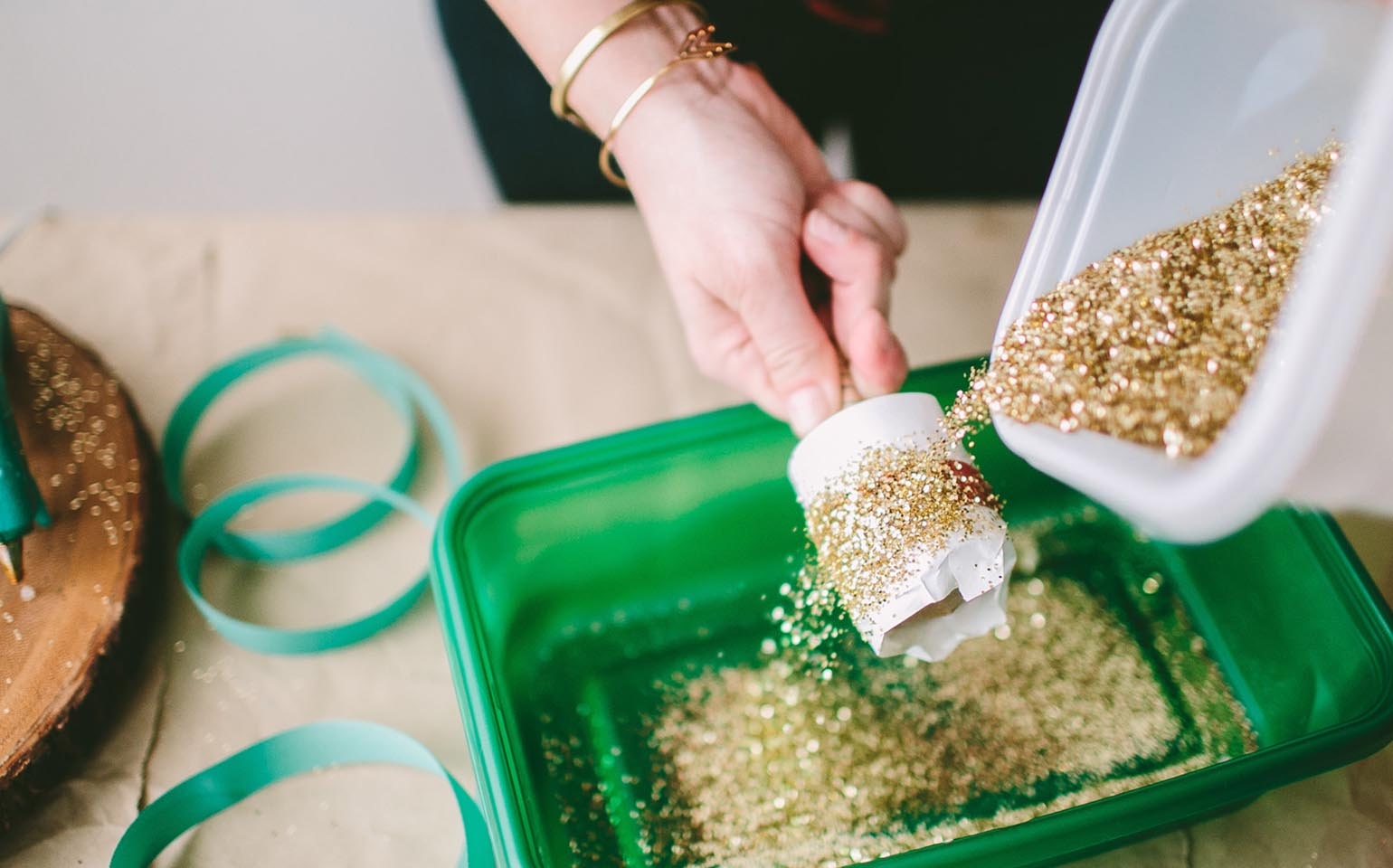 DIY Glitter-Encrusted Magnets