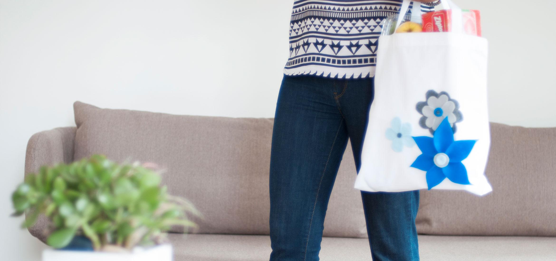 DIY No-Sew Flower Shopping Bag