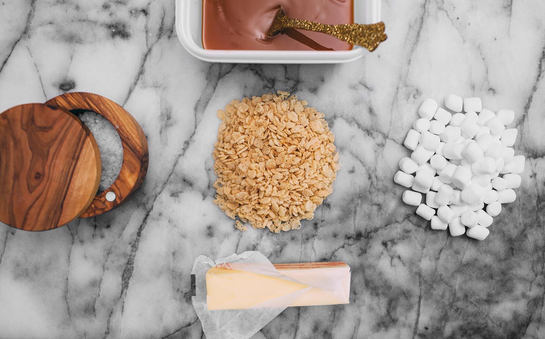 Collations de céréales à la guimauve sophistiquées