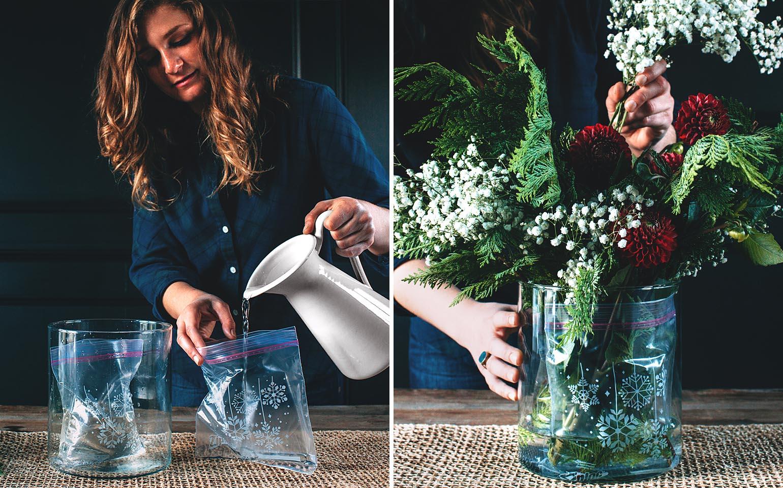 Ziploc Flower Arranging