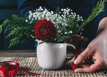 Composition florale avec Ziploc