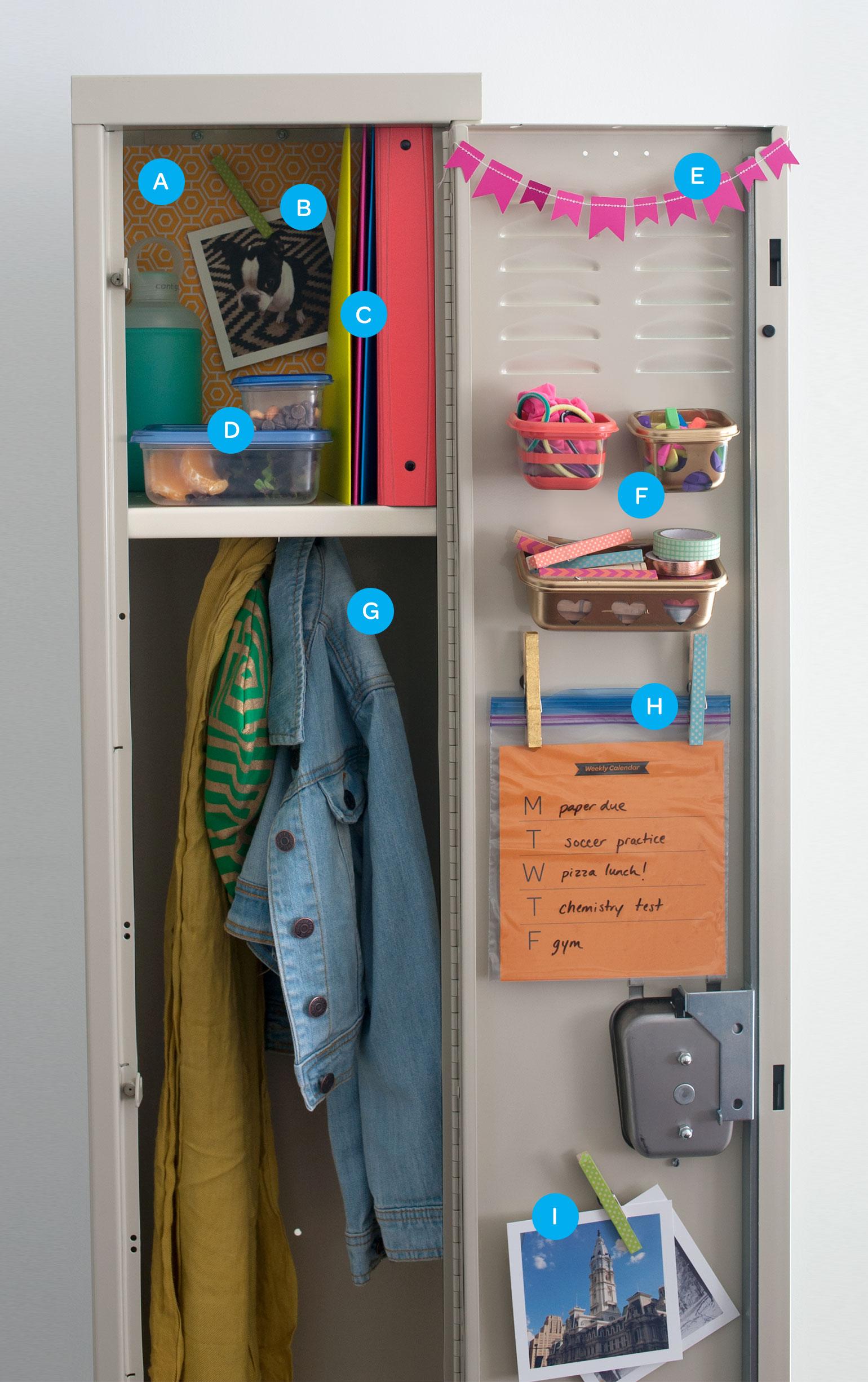 Decoración y organización de casilleros