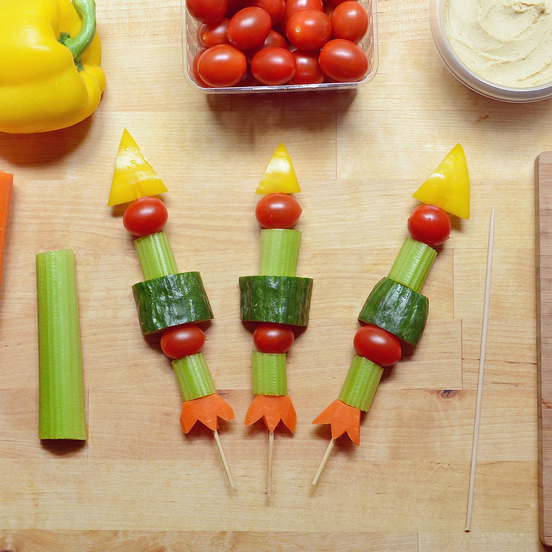 Brochettes-fusées aux légumes 3-2-1