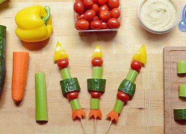 3,2,1 Cohetes de Brochetas de Verduras