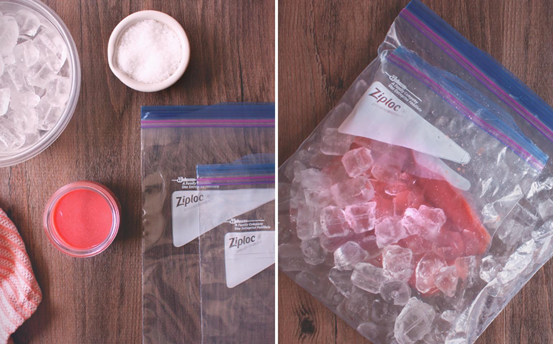 Watermelon Sorbet in a Ziploc® brand bag