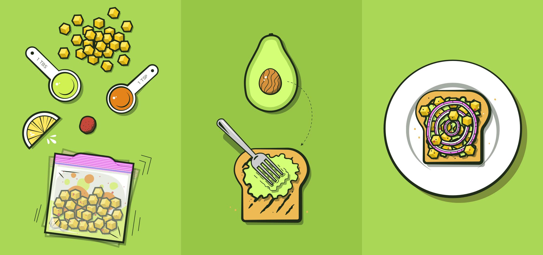Tostada de aguacate& y mango para llevar