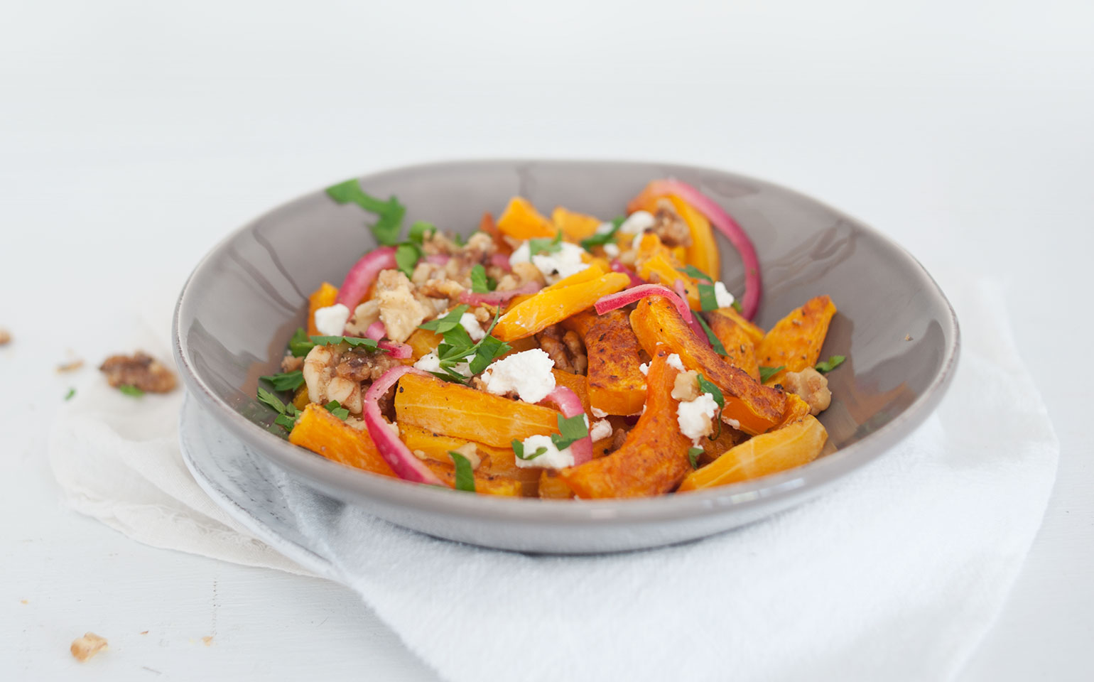 Butternut Squash, Pickled Red Onions, Candied Walnuts & Goat Cheese Salad
