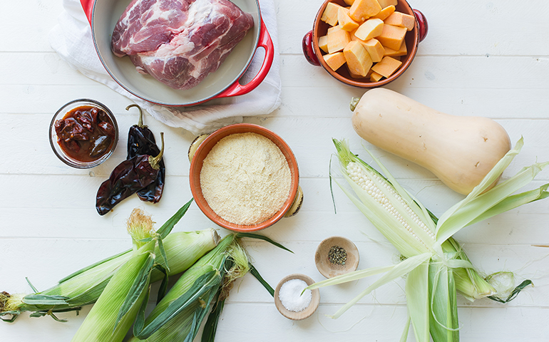 Calabaza moscada y tamales de maíz