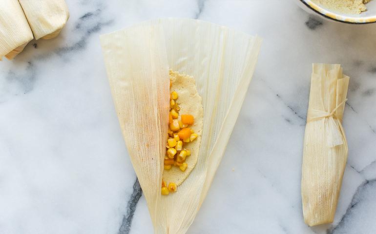 Tamales à la courge musquée et au maïs