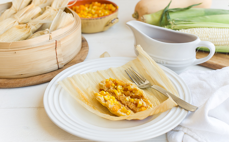 Butternut Squash and Corn Tamales