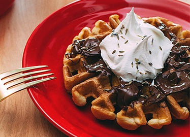 Chocolate and Lavender Waffles