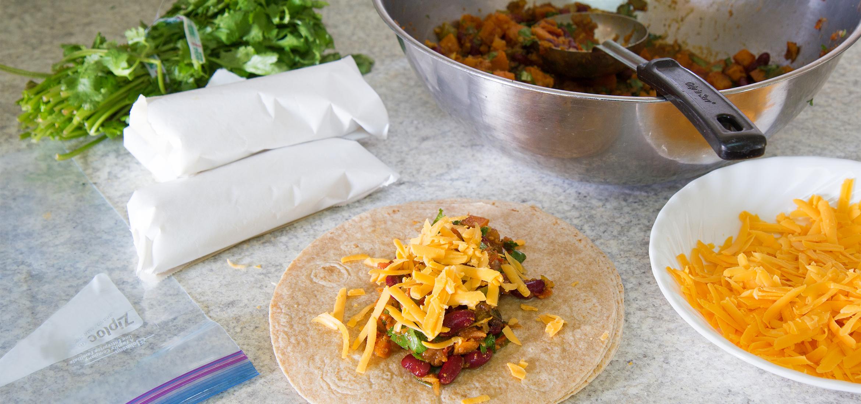 Burritos de légumes à congeler