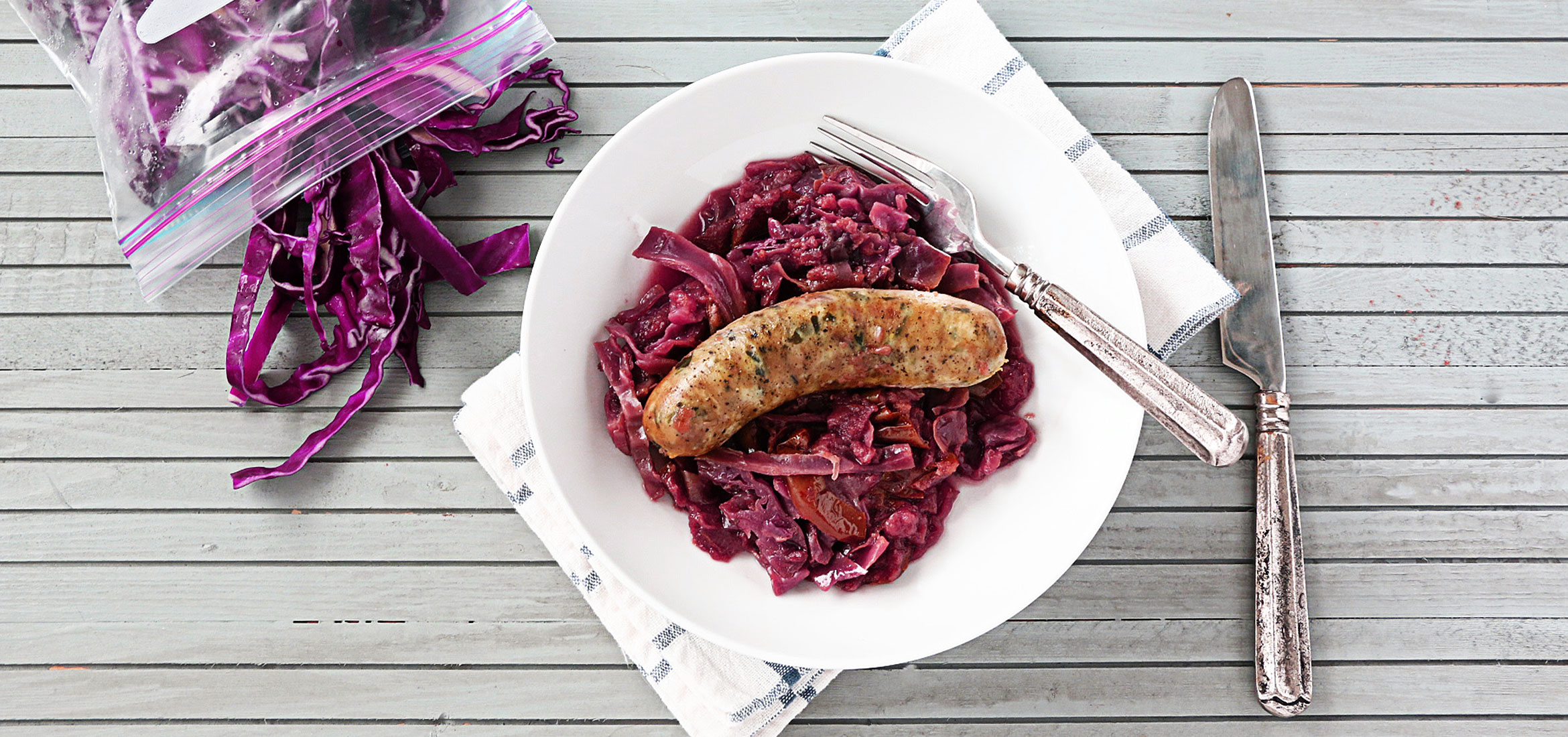 German Sausages with Apples and Cabbage