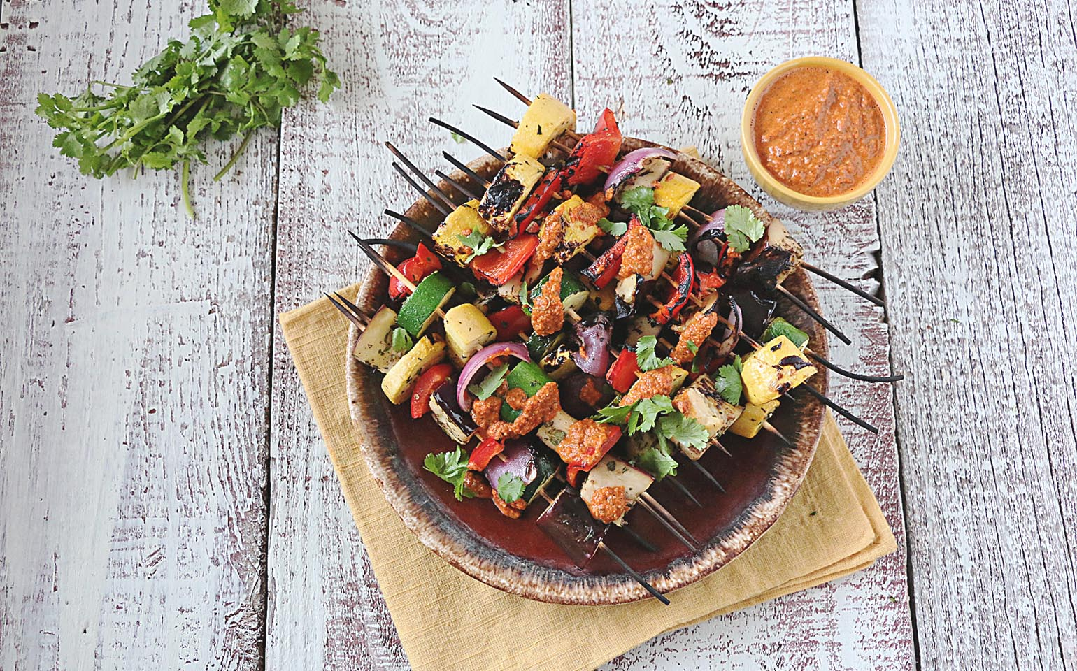 Grilled Lemon Marinated Summer Vegetables with Romesco Sauce