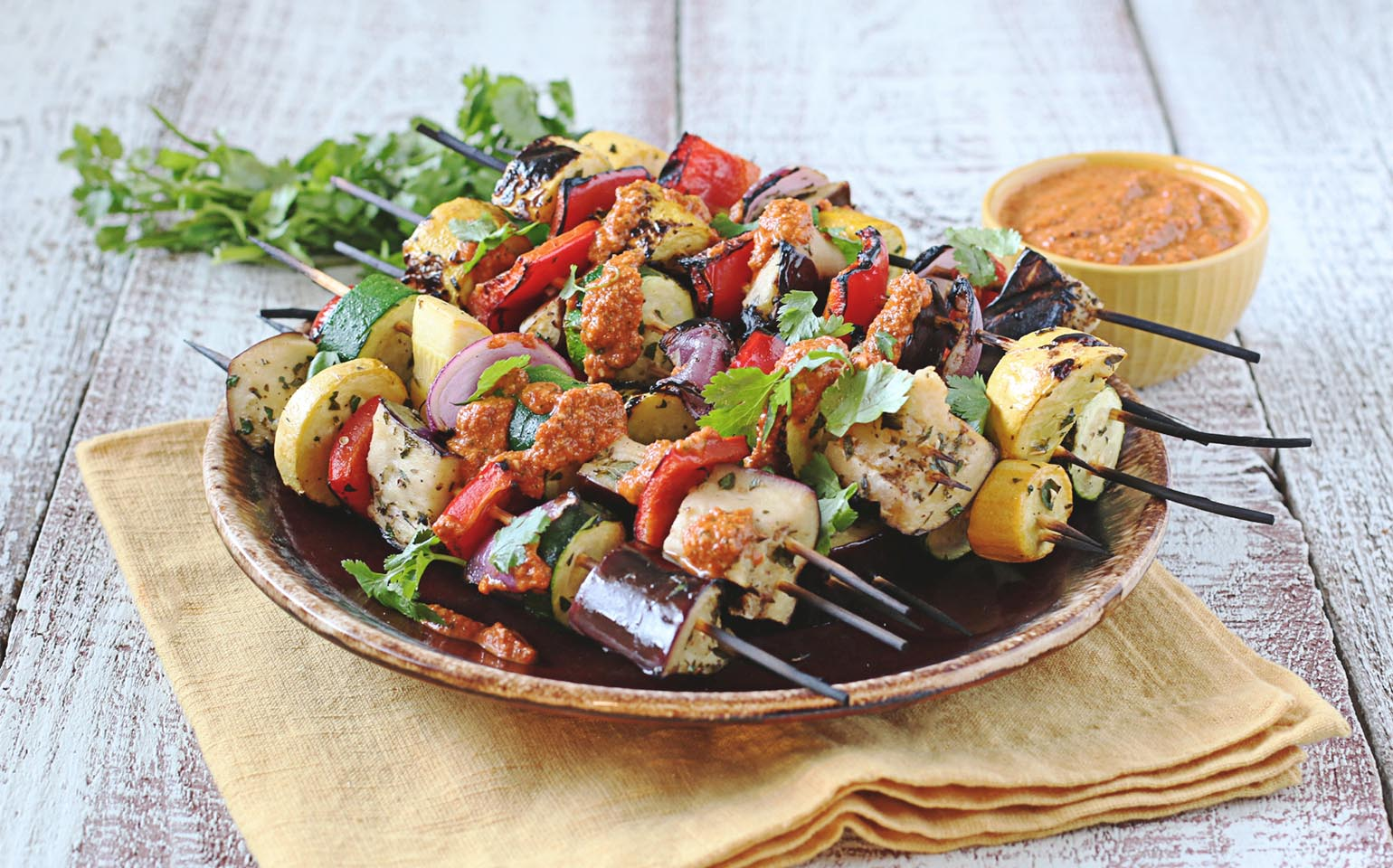 Grilled Lemon Marinated Summer Vegetables with Romesco Sauces