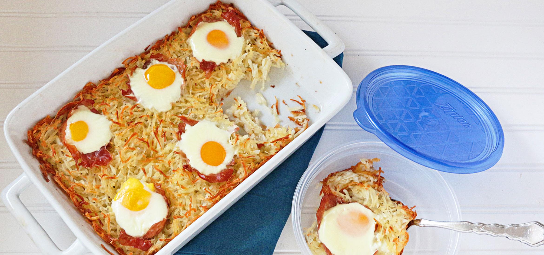 Hash Brown, Prosciutto and Egg Casserole