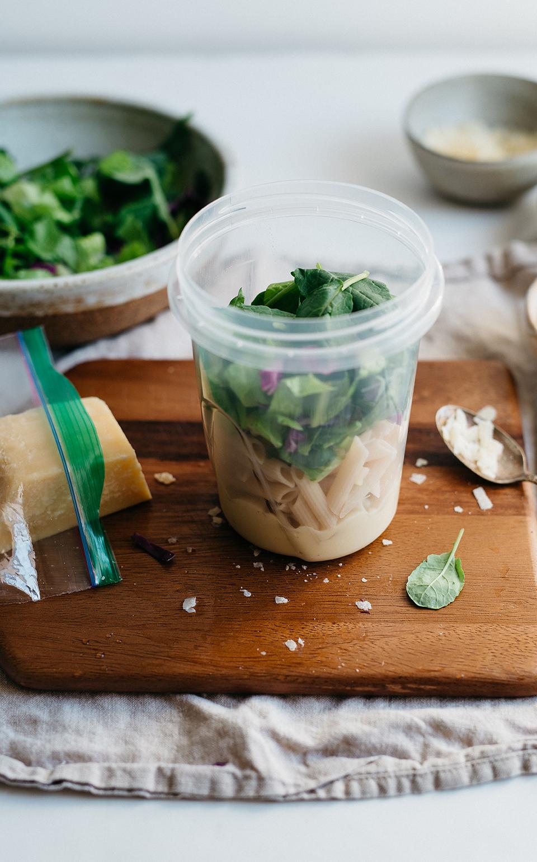 Kale Caesar Pasta Salad with Chicken