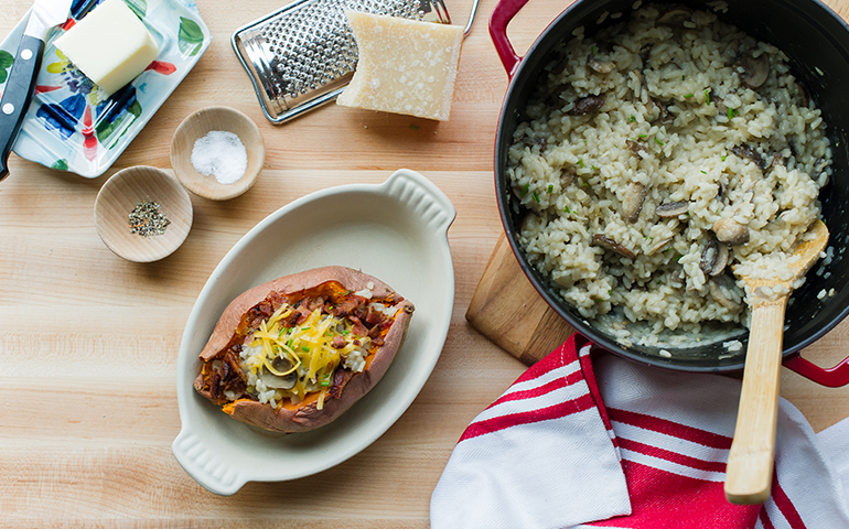 Mushroom Risotto Stuffed Sweet Potatoes