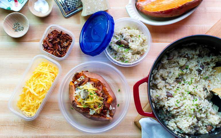 Patates douces farcies de risotto aux champignons
