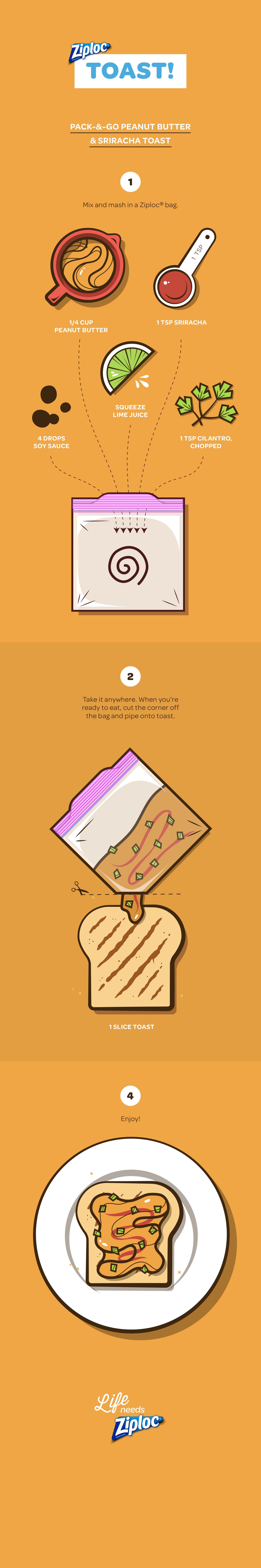 Tostada de mantequilla de maní y sriracha para preparar y salir