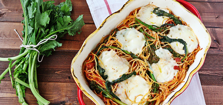 Spaghetti, Broccoli Rabe, and Mozzarella Casserole