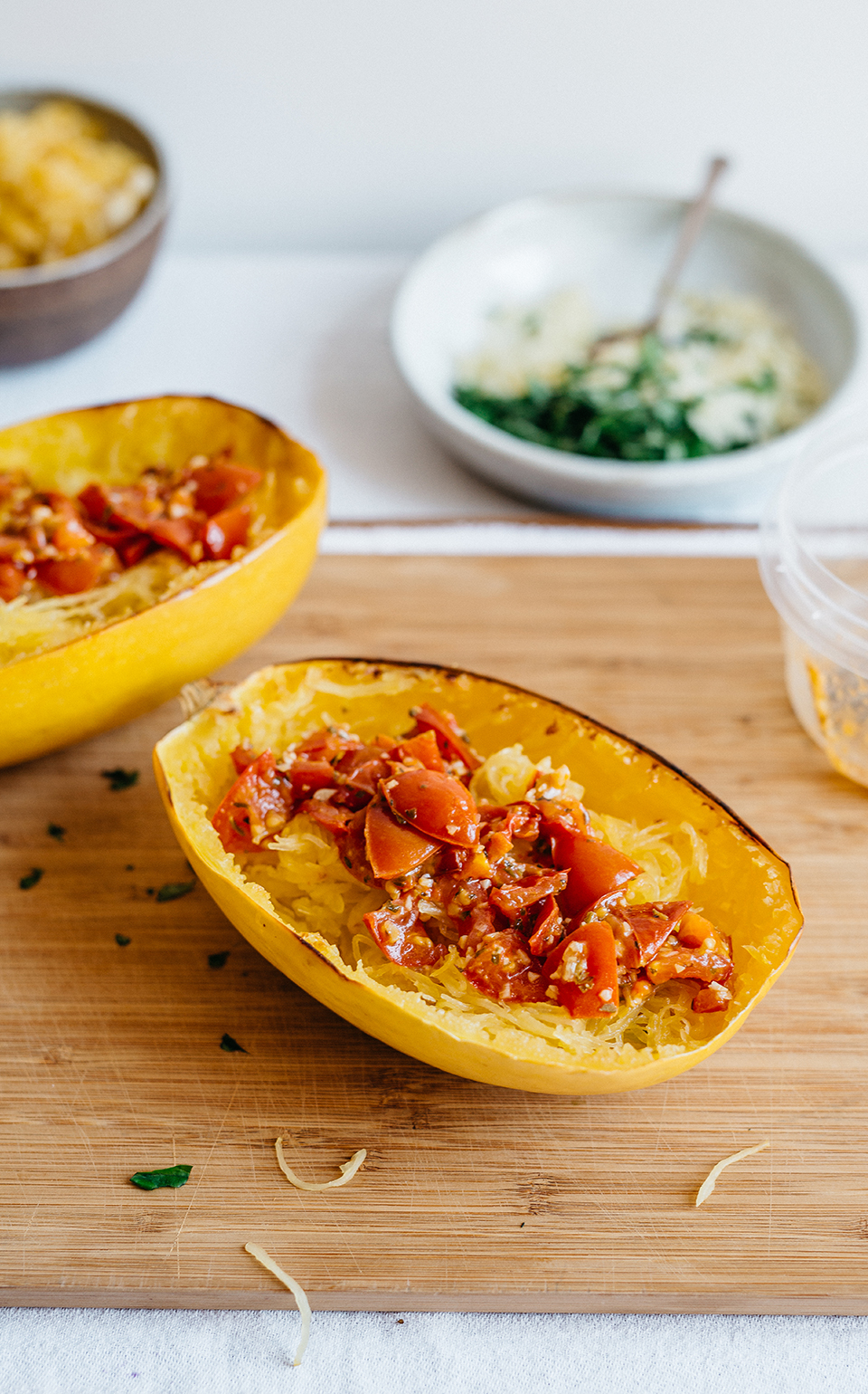 Spaghetti Squash with Roasted Tomatoes, Mozzarella, and Pine Nuts