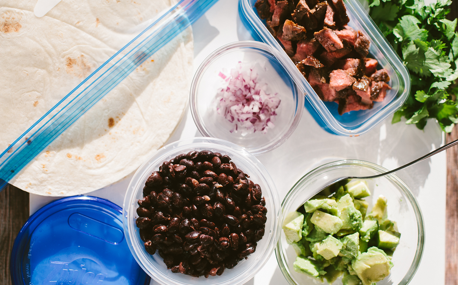 Steak and Black Bean Burritos with Red Onion and Avocado