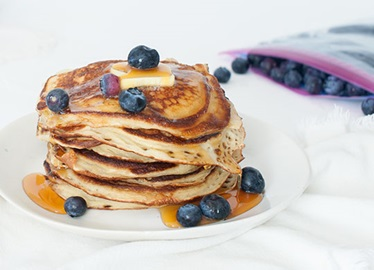 Yogurt Pancakes with Blueberries and Honey