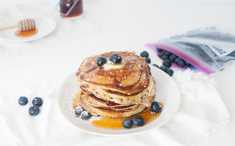 Yogurt Pancakes with Blueberries and Honey