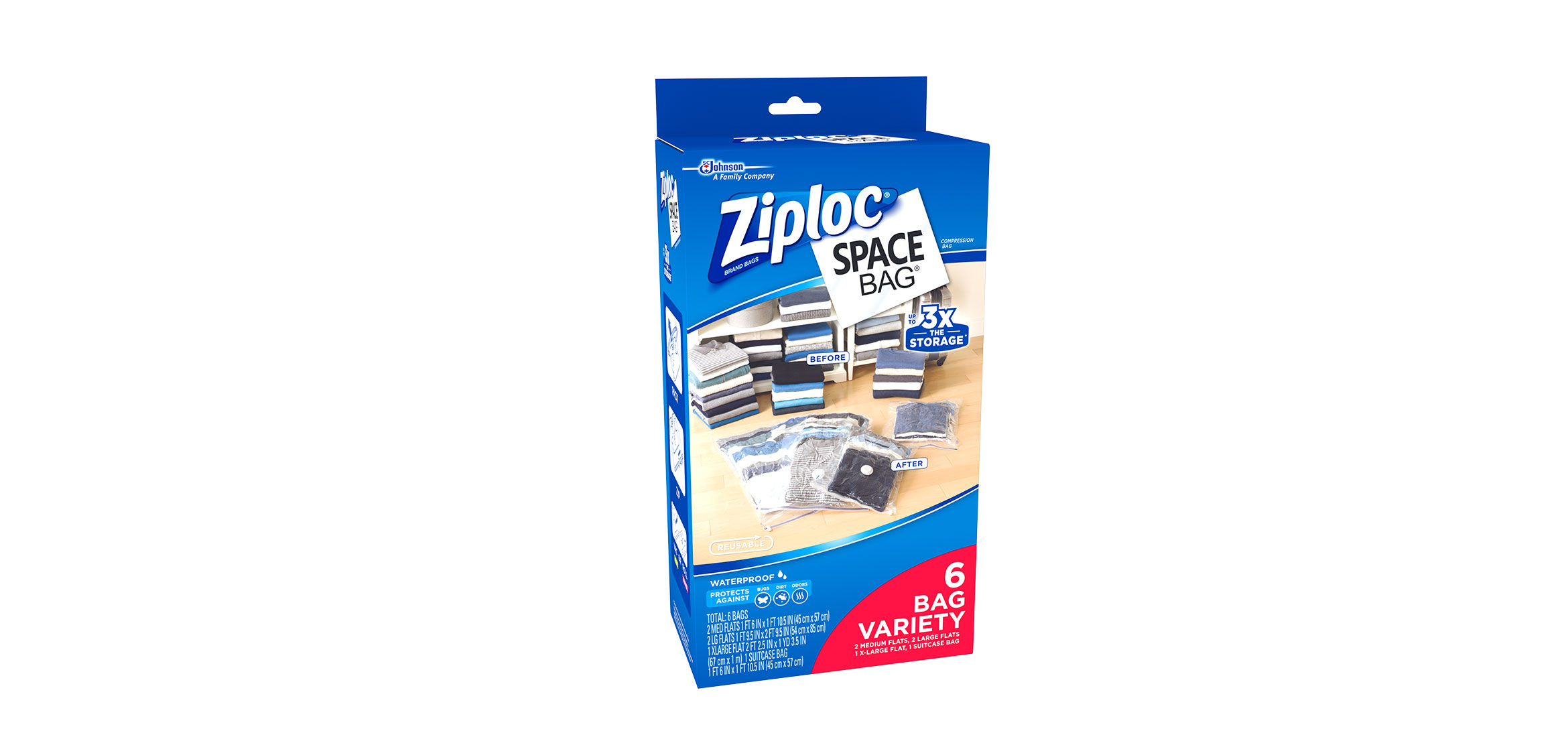 Flat Bag: 2 Medium, 2 Large,1 XL; 1 Space Cube Ziploc Space Bag Variety Pack 6 Count