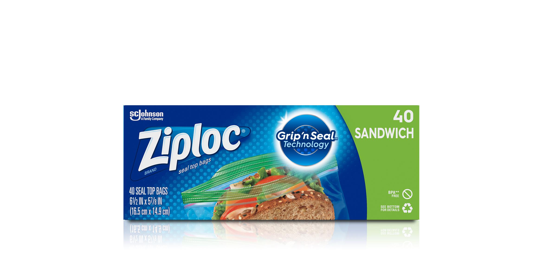 Ziploc Seal Top Bags 100 Count Sandwich Size Easy Open Tabs Recyclable