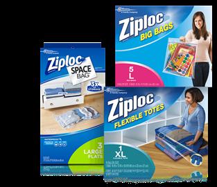 Ziploc® Space Bag® grande plana, bolsas grandes Ziploc® 5L, Ziploc® Flexible Tote XL.