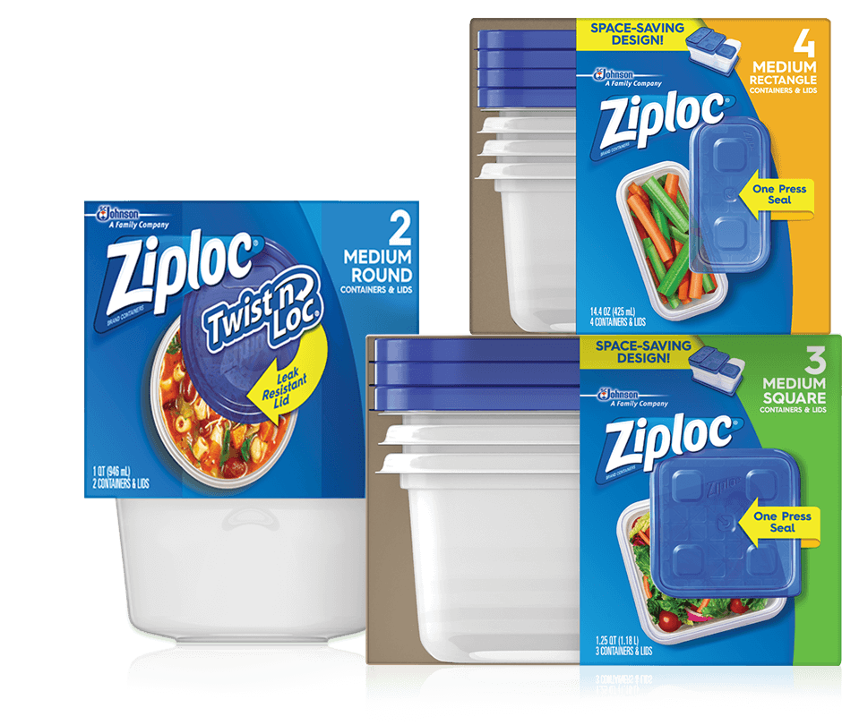 Ziploc® Twist 'n Loc® Containers 2 Medium Round, Ziploc® Containers & Lids Medium, Ziploc® Containers & Lids 3 Medium.