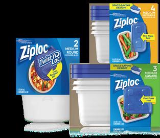 Recipientes Ziploc® Twist 'n Loc® 2 medianos redondos, recipientes y tapas Ziploc® medianos, recipientes y tapas Ziploc® 3 medianos.